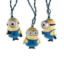 "Giggle and light up your decoration with this Kurt Adler Despicable Me Minions Light Set. Featuring the minions themselves, this 10-light set comes with five Dave minions and five Carl minions on a 30 x 12"" green lead wire. Put it on your tree, line it along the wall or even put these adorable minions on your shrubs outside. When you can't figure out what to get who on your Christmas list, use the light set as a muse to help you complete your shopping list. As Gru would say… ""Light bulb!"""