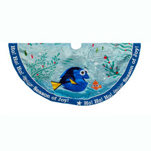 "Add the perfect finishing touch to your Christmas tree with this 48"" Finding Dory Satin Tree skirt from Kurt Adler. Its blue and teal design features red and green aquatic detailing, Dory herself, and a blue trim that reads, ""Ho! Ho! Ho! Season of Joy!"""