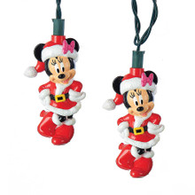 "This B/O 6-Light Minnie Mouse LED Light Set from Kurt Adler is a fun and festive addition to any holiday decoration! Perfect for Disney fans, this light set features light covers designed after Minnie Mouse. Minnie is wearing a red and white Santa Claus-inspired outfit. This set has a 30"" lead wire, 12"" light spacing, and a timer function (6 hours on and 18 hours off). B/O; uses 3 AA batteries (not included). For indoor-use only."