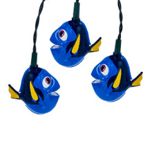 This 10-Light Finding Dory Light Set from Kurt Adler is a fun and festive addition to any holiday decoration! Perfect for fans of Disney and Finding Dory, this light set features 10 bright blue light covers designed after Dory, the forgetful-yet-lovable fish from finding Dory. For both indoor and outdoor use, light up any area of your home with Dory's smiling face.
