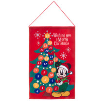 "Countdown the days till Christmas with this Mickey Mouse Christmas tree advent calendar from Kurt Adler. Hanging on a wall, Mickey Mouse in his Santa hat and Christmas sweater is ""Wishing You A Merry Christmas."""