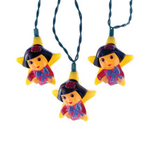 Keep Swiper from swiping your holiday decorations with this Kurt Adler UL 10-Light Dora the Explorer light set. Each light features Dora wearing a red sweater with a red hair bow and holding onto a pink present wrapped with a purple bow. Grab your backpack and jump into completing your holiday decoration with Dora!