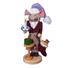 """The 2nd in the new Steinbach Night Before Christmas series, """"The Night Before Christmas Mouse Nutcracker"""", celebrates the beloved Christmas poem in which a man meets St. Nicholas. This Mouse nutcracker shares carries a candle and his platform with a night table that has a square shaped gift painted in green and wrapped with a red ribbon. Standing at 17"""" tall, this nutcracker is a limited edition. Like all of Steinbach creations, he is hand-crafted in Germany with the finest care and attention to detail."""
