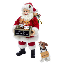 "Part of Kurt Adler's Fabriche collection, this 10.5-in Adopt-a-Pet Santa with Dog from Kurt Adler is a fun and festive addition to any holiday decoration. Santa Claus is featured here wearing his traditional red-and-white suit holding a wooden crate filled with three small animals that reads ""Save a life. Adopt a shelter pet"". Santa also has a sack with a puppy and candy cane slung on his shoulder. This two piece set also includes a dog in the sitting position with a ""pick me!"" sign."