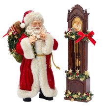 Part of Kurt Adler's Fabriche collection, this Santa and Clock from Kurt Adler is a fun and festive addition to any holiday decoration. Santa Claus is featured here wearing a red and white robe with a sack over his shoulder. This two piece set includes a grandfather clock decorated for the holidays.