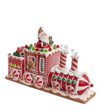 Add a sweet touch to your holiday decoration with this 7.5-in B/O Gingerbread Junction LED Train Table Piece from Kurt Adler. This table piece features a locomotive and two train carts, with a candy design in mind. In one cart a gingerbread man is peeking from the window and Santa popping out from the top. Following close behind is a cart filled with various desserts.
