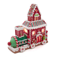 Add a sweet touch to your holiday decoration with this Kurt Adler 10.5-in Gingerbread Train House with LED Lights! This table piece features the shape of a train made of gingerbread cookies. Sprinkles, peppermint candy, and cookies adorn the sides of this house. When switched on, the train house are illuminated from within.