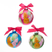 These blue, green and pink with pineapple pattern glass ball ornaments from Kurt Adler are a modern addition to any home and holiday decoration. Each 4-piece set includes a blue, green and pink glass ball with pink ribbon bow accent.