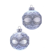 These Silver with Glitter and Sequins Glass Ball Ornaments from Kurt Adler are a classic addition to your holiday decoration or Christmas tree. This box set includes six silver ornaments with silver glitter and sequin in an intricate pattern that revolves around the ornament.