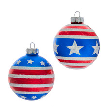 Show your American pride this holiday season with these Red, White and Blue Stars and Stripes Glass Ball Ornaments from Kurt Adler! These six glass ball ornaments feature two assorted designs! Each blue ball features red and white stripes with white stars.
