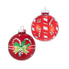 Add a sweet touch to your holiday decoration with these Matte and Shiny Red with Candy Canes Glass Ball Ornaments from Kurt Adler. These six glass ball ornaments feature two assorted candy cane designs! This set features one matte and one shiny red ball each with their own fun and festive candy cane design.