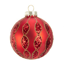 These Kurt Adler Red with Glitter Pattern Glass Ball Ornaments are a classic addition to your holiday decoration or Christmas tree. This ornament features an intricate pattern outlined in gold glitter filled in with red sequins.