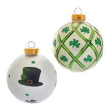 Show your Irish heritage this holiday season with these Silver and Light Green St. Patrick Glass Ball Ornaments from Kurt Adler! Features white matte ornaments with green and gold shamrock adornments. These six glass ball ornaments feature two assorted designs!