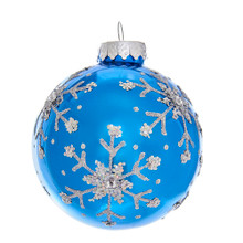 These Kurt Adler Blue and Silver Glitter Snowflake Glass Ball Ornaments are a classic addition to your holiday decoration or Christmas tree. This ornament features an intricate snowflake pattern made from glitter, sequins, and gems.