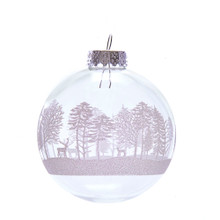 These Kurt Adler Clear with White Tree Design Glass Ball Ornaments are a beautiful addition to any holiday decoration or Christmas tree. This ornament features a wintery woods scene in glitter sure to be an eyecatcher on any tree!
