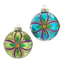 These Kurt Adler Green, Blue, Gold and Purple Glass Ball Ornaments are a beautiful addition to any holiday decoration or Christmas tree. This ornament features an intricate pattern outlined in purple and gold glitter with a gold center gem. These six glass ball ornaments feature two assorted ornaments, one green and one blue!