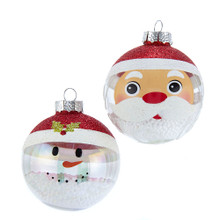 These Kurt Adler Clear and White Santa and Snowman Glass Ball Ornaments are a beautiful addition to any holiday decoration or Christmas tree. This clear ornament set features one Santa Claus design and one snowman design, both wearing traditional Santa hats. The ornaments are filled with faux snow adding a fun and festive twist to the traditional ornament.