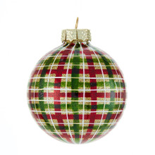 These Kurt Adler Green, Blue, Gold and Purple Glass Ball Ornaments are a beautiful addition to any holiday decoration or Christmas tree. This ornament features a plaid pattern all around using green, red, and white on a glittering gold ball.