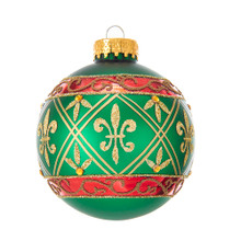 Celebrate the season with these traditional green glass ball ornaments with red striping and gold glitter fleur-de-lis design from Kurt Adler. Each matte green ornament in this set is expertly designed with red striping and gold glitter fleur-de-lis with a gold gemstone perfectly placed on the ornament.