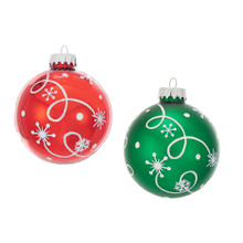 These shiny red and green glass ball with white swirl design ornaments from Kurt Adler are a fun and festive addition to any home or holiday decoration. Each ornament in this set is wonderfully designed with white swirls and polka dots.