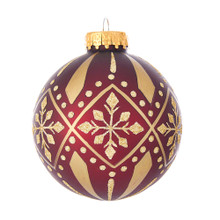 These matte burgundy glass balls with gold glitter pattern ornaments from Kurt Adler are a beautiful addition to you home holiday decoration or Christmas tree. Each glass ornament in this set is exquisitely decorated with gold glitter in a traditional holiday pattern.