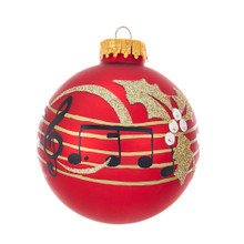Celebrate the sounds of the season with these matte red glass ball ornaments with musical notes from Kurt Adler. Each glass ornament in this set features a matte red ball with black musical notes and a gold glitter holly leaf with clear gemstones accents.
