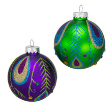 These purple and green peacock glass ball ornaments from Kurt Adler are a fun and festive addition to any holiday decoration or Christmas tree. This set features three purple and three green glass ball ornaments with a glittered peacock design and gold gemstone accents.