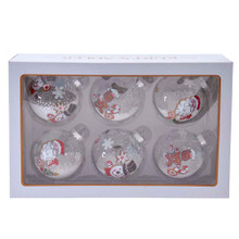 These Kurt Adler 80MM Gingerbread, Snowman and Santa Glass Ball Ornaments, 6-Piece Set are a beautiful addition to any holiday decoration or Christmas tree. This clear ornament set features three different sugar cookies: Santa Claus, gingerbread man with candy cane, and snowman with snowflake. The ornaments are filled with faux snow adding a fun and festive twist to the traditional ornament!