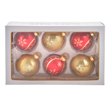 These Kurt Adler 80MM Red and Gold Snowflake Glass Ball Ornaments, 6-Piece Set are a classic addition to your holiday decor or Christmas tree. This box set includes six ornaments: three red and three gold. Each ornament is intricately detailed with a glitter and shiny swirl with glitter snowflakes and dots throughout.