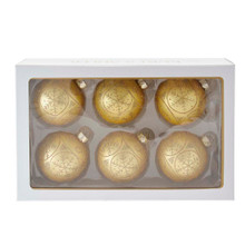 These 80MM Gold with Gold Snowflakes Glass Ball Ornaments, 6-Piece Set from Kurt Adler are the perfect addition to your holiday decoration! This six piece set features gold ornaments with an intricate gold glitter pattern. Swirls are added for an added dimensional effect.