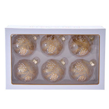 Add a rustic effect to your tree this year with these 80MM Clear with Gold Pinecones Glass Ball Ornaments, 6-Piece Set from Kurt Adler! This six piece set features transparent ornaments with gold pinecone and pine leaves. White glitter is used to give the pinecones a frosted effect.