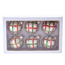 These 80MM Plaid Glass Ball Ornaments, 6-Piece Set from Kurt Adler are the perfect addition to your tree! This set features the classic Christmas colors: red, white, gold, and green in a plaid pattern. The gold glitter detailing adds sparkle effect.
