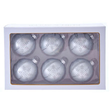 These 80MM Silver Snowflake Glass Ball Ornaments, 6-Piece Set from Kurt Adler are the perfect addition to your holiday decoration! This six piece set features a silver ornament with silver glitter detailing. There are silver vertical stripes with snowflakes between each stripe. A center gem is placed in the middle of each snowflake for a special touch.