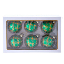 Add some color to your tree with this 80MM Green and Gold Lattice Glass Ball Ornaments, 6-Piece Set from Kurt Adler! This six piece set features a green ornament with gold and green detailing. Gold is used to paint a lattice pattern. Green and gold glitter is used for a sparkle effect. A center gold gem is placed throughout for a special effect.