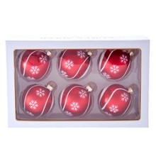 These 80MM Red with Snowflake Swirls Glass Ball Ornaments, 6-Piece Set from Kurt Adler are an elegant addition to any holiday decoration or Christmas tree. This set features a red matte ornament with white swirls. Snowflakes made of white glitter are seen throughout this ornament. This ornament set is the perfect addition to any classic holiday decoration!