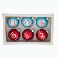 "Add some holiday cheer with this 80MM Retro Red and Aqua Shiny and Matte Glass with Words Ball Ornaments, 6-Piece Set from Kurt Adler! This six piece set features three assorted styles. The aqua ornament features the word ""Joy"". The red ornaments features the words ""Ho"" and ""Noel""."