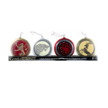 Show your allegiance to your favorite Game of Thrones house this holiday season with this Game of Thrones disc ornaments from Kurt Adler! Features disc shaped ornaments with the major family crests; including House Targaryen, House Baratheon, House Lannister, and House Stark.