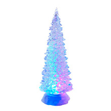 """The Kurt Adler 12.25"""" B/O LED Light Tree Tabletop is a fun, festive way to add to your holiday decoration! This acrylic tree sits on a frosted base. The glossy sheen on the tree gives it an icy look as it glows from multiColored, swirling LED lights."""