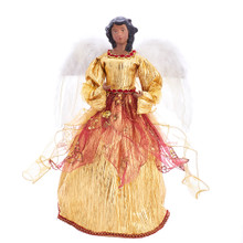 Add the perfect finishing touch to your Christmas tree with this African American Angel Treetop from Kurt Adler. This beautiful angel is wearing a gold dress with red detailing accented by large white feather wings.