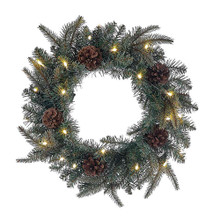 This 18-in B/O Blue and Green LED Wreath from Kurt Adler is a beautiful and festive addition to any holiday decoration. Its design is decorated with pinecones and is pre-lit with 20 LED lights for a merry glow. This wreath is for both indoor and outdoor (covered porch) use. B/O; uses 3 AA batteries.