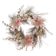 Add a touch of color to your holiday decoration with this trendy 20-in Champagne and Gold Wreath with Pink Poinsettias and Ornaments from Kurt Adler! This wreath features pink and gold poinsettias. Gold and silver ornaments adorn the wreath for a special touch.