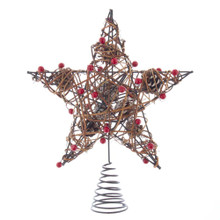 Add the finishing touch to your Christmas tree with this 12-in Natural Brown Star Treetop with Berries from Kurt Adler. Its nature inspired design has rattan with holly berry wrapped around the star. Pinecones and placed within the star to add the finishing touch to this rustic treetop.
