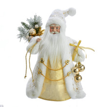 Complete the decoration of your Christmas tree with Kurt Adler's White and Gold Santa Treetop. This beautiful treetop featured Santa Claus in a long white coat with gold speckles. In one hand are a string of ornaments, in the other is a sack with with pine leaves sticking out.