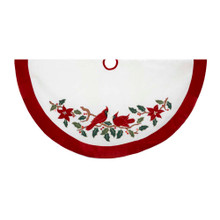 "This Kurt Adler 48"" Velvet Red and White with Cardinals Applique Tree skirt is a beautiful, festive way to add to your holiday decoration. This 48"" white design features an applique of two red cardinals resting on holly branches. Trimmed with a red border, this skirt will enliven any tree with Christmas cheer!"