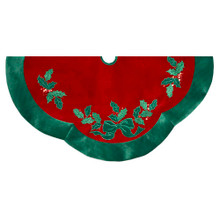 "This Kurt Adler 48"" Velvet Red with Green Leaves Applique Tree skirt is a fun, festive way to add to the decoration of your Christmas tree. Its bright red color is trimmed in bold green, the same color as the bow and holly leaf applique detailing."