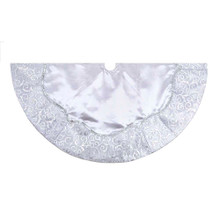 "This Kurt Adler 48"" Silver Satin w/ Printed Border Tree skirt is a festive, elegant way to add to your Christmas tree decoration. The delicate details of this piece feature a silver scroll-patterned fabric border circling a silver satin center and is accented by a silver sequin trim."