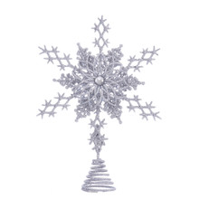 Bring the beauty of winter into your homes with this Silver Star Snowflake from Kurt Adler! This silver glitter snowflake treetop features three different intricate patterns, 6-points, and a center gem to brighten any holiday decoration or Christmas tree.