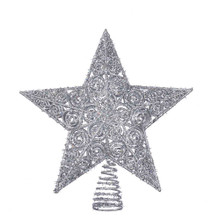 Add the perfect finishing touch to your Christmas tree with this silver glitter Star treetop from Kurt Adler. Its simple 5-point star design has an allover silver glitter design with an intricate design and multi-faceted texture. This unlit treetop attaches securely to the top of your tree with Its coil base.