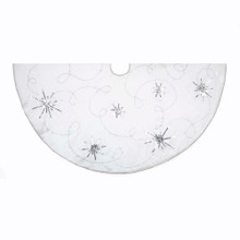 "This Kurt Adler 48"" Tree skirt with Poinsettia Embroidery is an elegant, classic way to add to your holiday decoration! This 48"" design features beautifully embroidered scrollwork with sequin detailing against a white cloth background. Lined in silver piping, this tree skirt is sure to enliven any tree with Christmas cheer!"