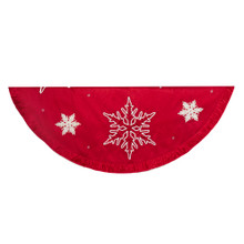 Bring a festive look to your holiday decoration with this 60-in Red Snowflake Embroidered and Pleated Tree skirt from Kurt Adler. Its all-red 60-in round design features white embroidered snowflakes, and a pleated trim.